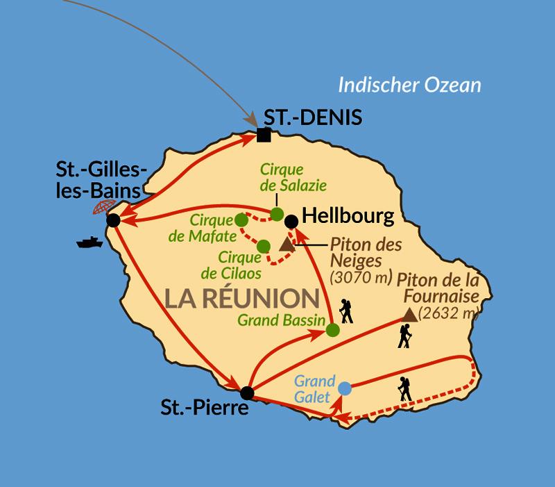 Karte: Inseltrekking auf La Réunion