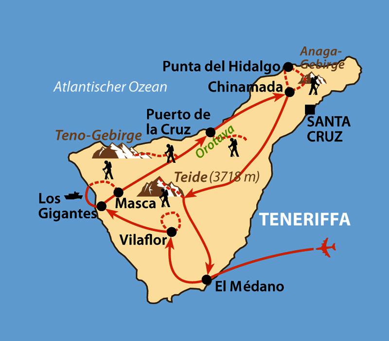 Karte: Teneriffa - Insel des ewigen Frühlings
