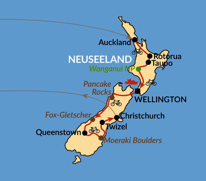 Karte: Ein Fahrrad – zwei Inseln: Neuseeland per Rad