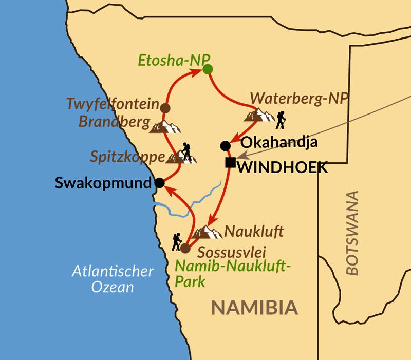 Karte: Namibias Highlights von Sossusvlei bis zum Etosha-Nationalpark
