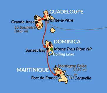 Karte: Zu Fuß durch Guadeloupe, Dominica und Martinique