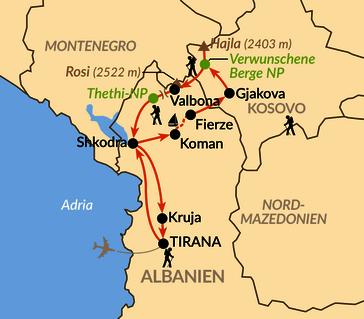"""Karte: In den """"Verwunschenen Bergen"""" – Albanische Alpen und Kosovo"""