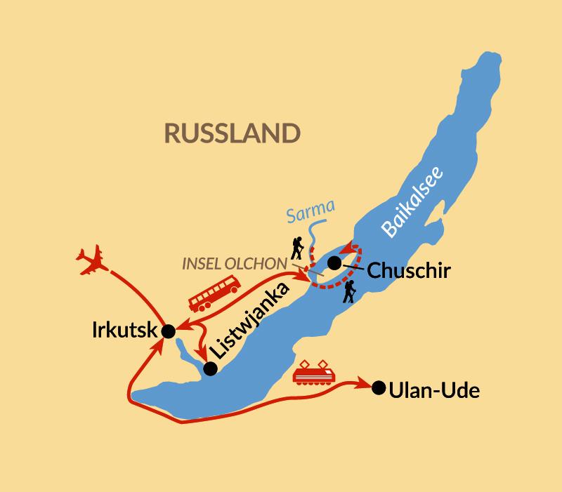 Karte: Baikal – Eistrekking um die Insel Olchon