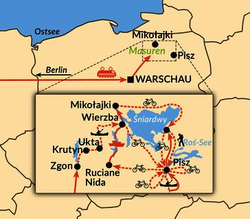 Karte: Masuren per Kanu, Rad und zu Fuß