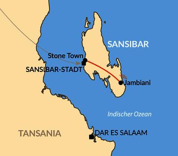 Karte: Reisebaustein: Sansibar - Gewürze, Geschichte und Geruhsamkeit