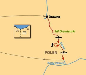 Karte: Polens Paddel-Paradies Drawa