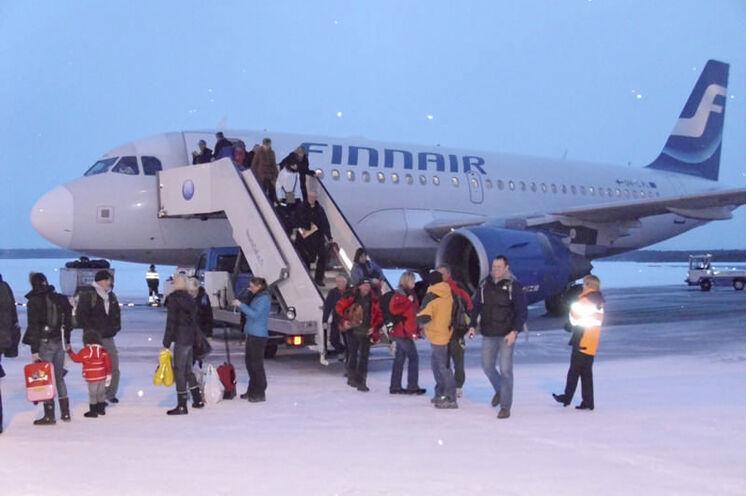 Ankunft per Flieger in Kuusamo.