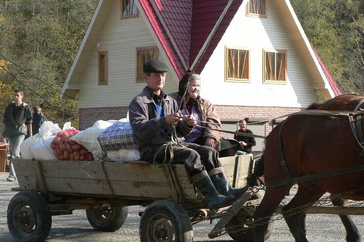 Traditionelle Pferdegespanne sieht man des öfteren in der Region