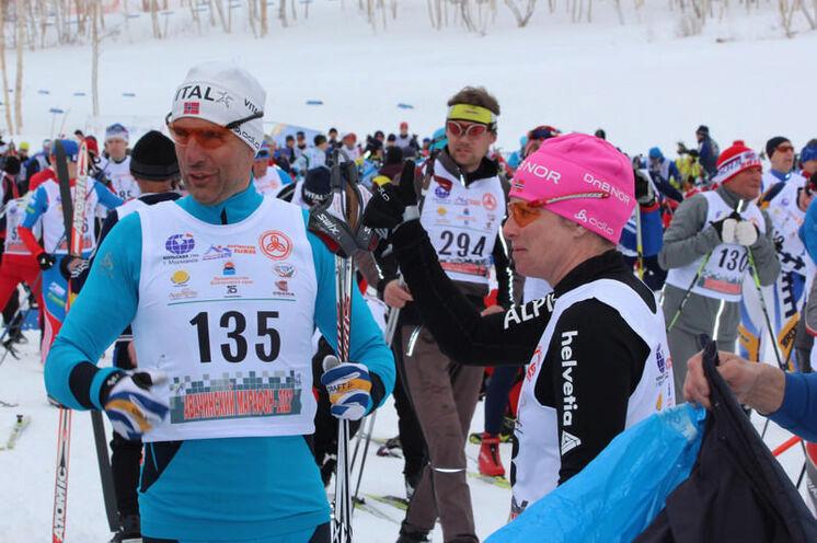 Heike und Andreas Luck aus Oberhof kurz vor dem Start 2012.