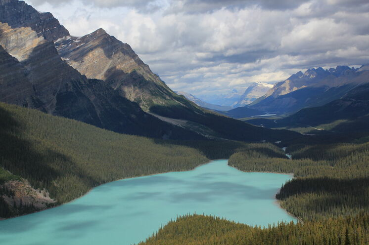 Der Peyto Lake in den Rocky Mountains zählt zu den beliebtesten Fotomotiven Kanadas