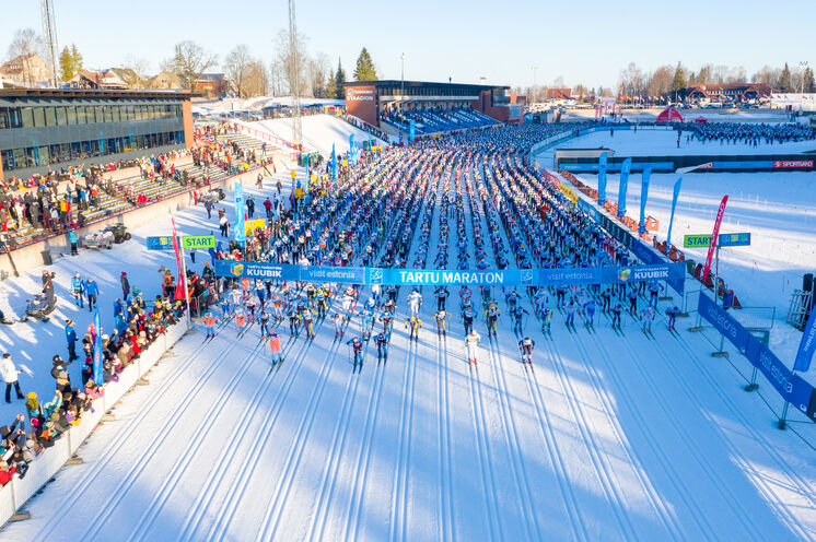 Start des größten Skimarathons im Baltikum ist im Thevandi Skistadion in Otepää, unweit von unserem Hotel gelegen