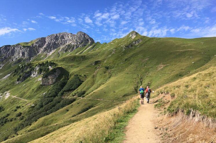 ... vorbei an grünen Wiesen und begleitet von einer traumhaft schönen Bergkulisse
