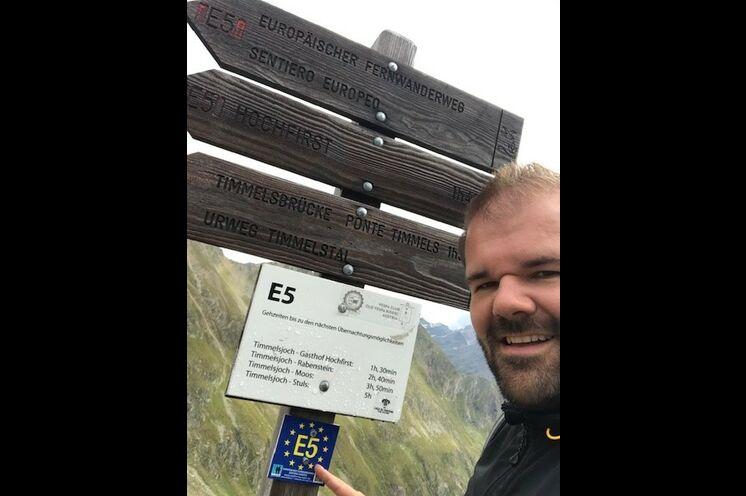 Unser Kollege Rico auf 2509m Höhe am Timmelsjoch im August 2021