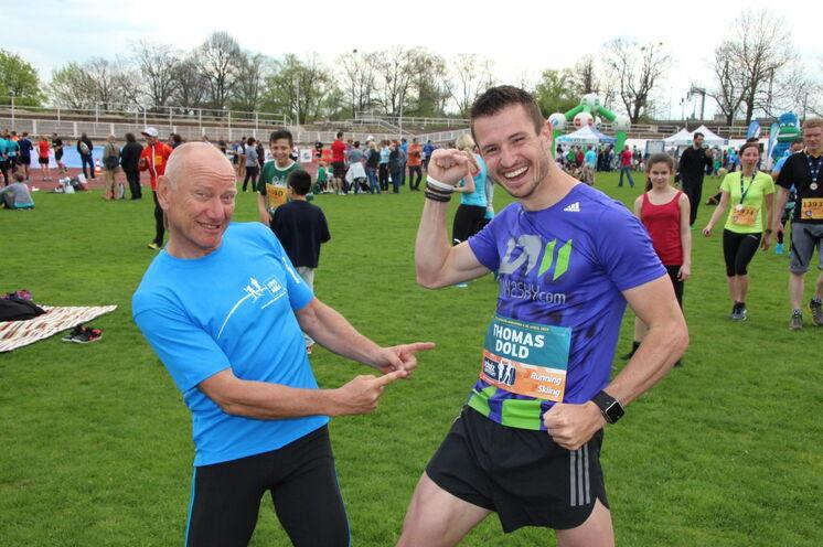 ...und 2016 dann sogar noch besser! Thomas Dold nach seinem zweiten Weltrekord in Dresden: 39:20 im Rückwärtslaufen 10 km!