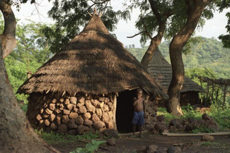 Die traditionellen Hütten der Bassari sind aus Laterit.