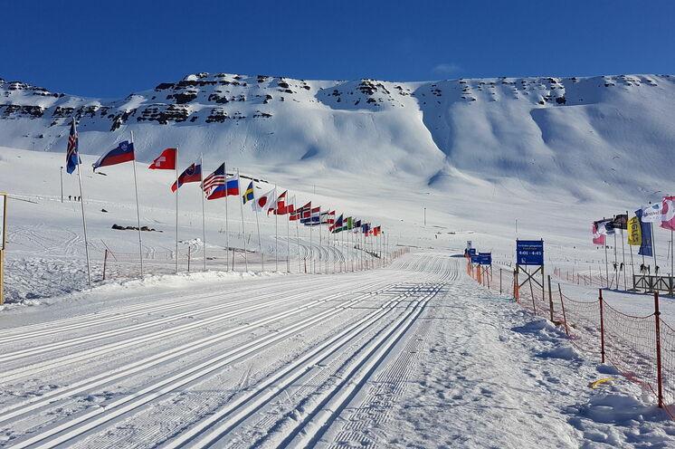 Das Start- und Zielareal befindet sich hoch über  Ísafjörður.