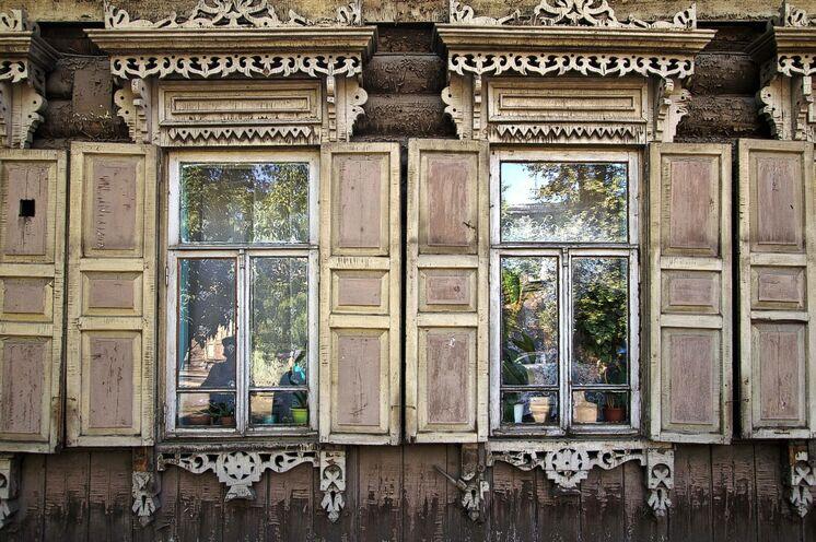 Alte Holzhäuser in Irkutsk