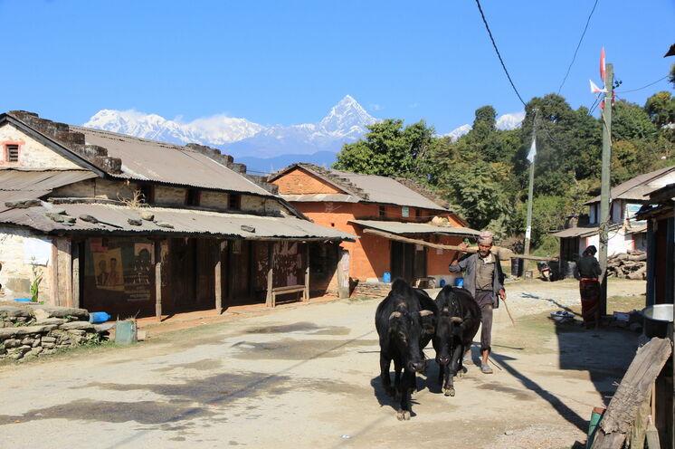 Ihr Weg führt durch malerische Dörfer Nepals...