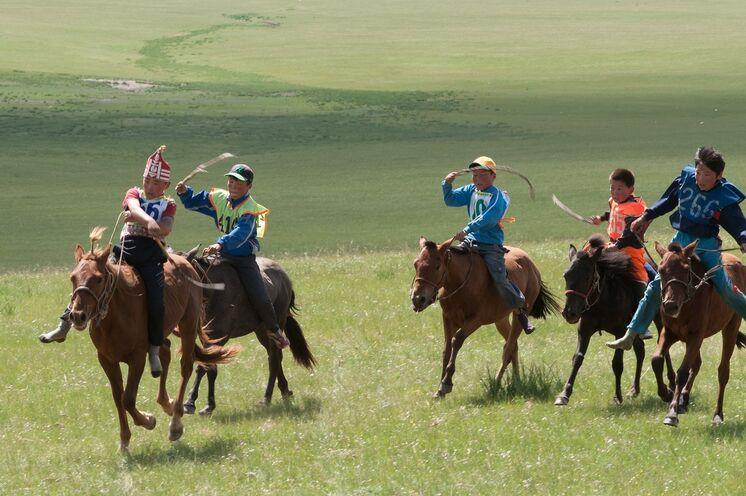 Pferderennen beim Naadam-Fest