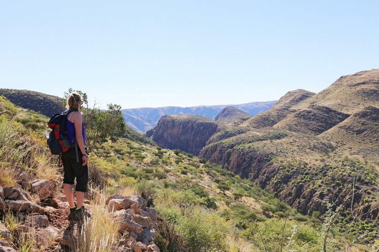 In Namibia gehen Sie vor allem Wandern, wie hier durch die Köcherbaum-Schlucht.