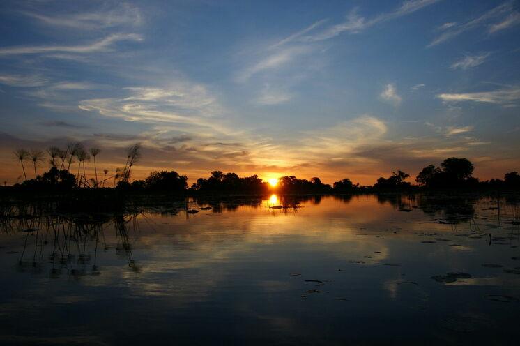Abendstimmung im Okavango-Delta.
