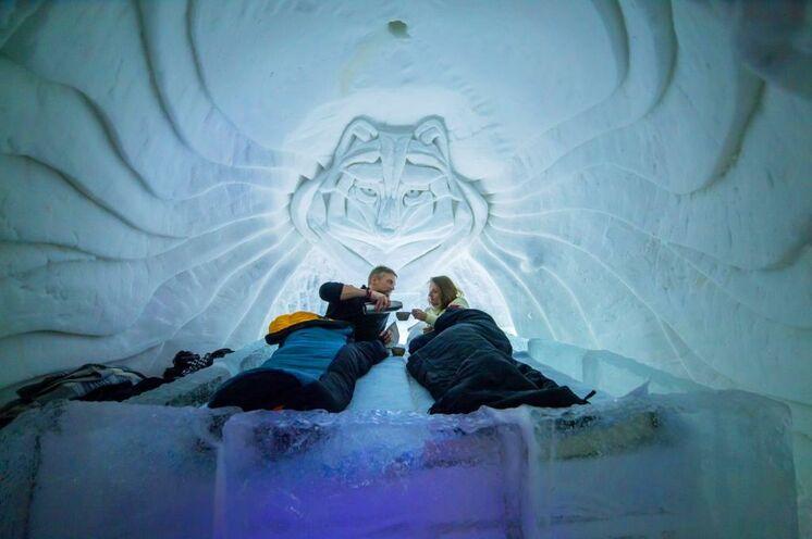 Auch eine Übernachtung im Schneehotel ist zusätzlich buchbar und ein ganz besonderes Erlebnis