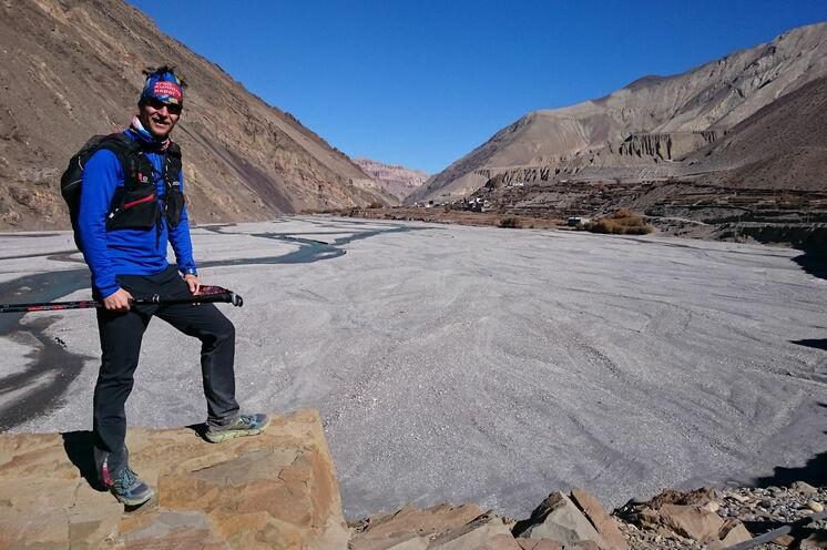 schulz sportreisen Reiseleiter Stefan im oberen Khali Gandaki Tal (nähe Kagbeni)