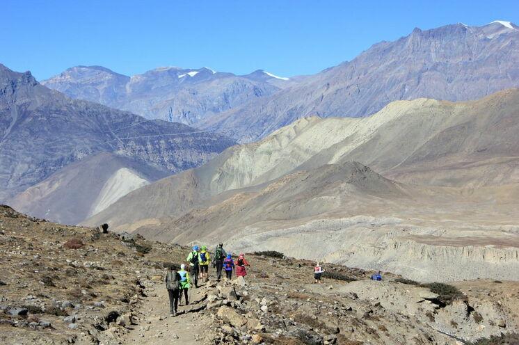 Abstieg vom Thorung La Pass - Ankunft im Mustang District