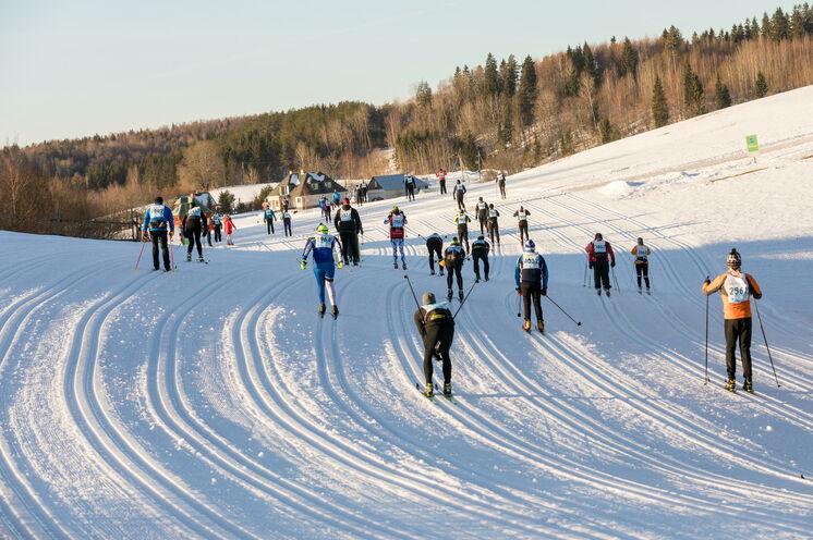 Typisches Landschaftsbild am Anfang der Strecke, immer leicht hügelig und breit angelegte Laufstrecke