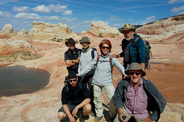 Gruppenfoto unserer Reisegruppe 2018 im Vermillion Cliffs National Monument