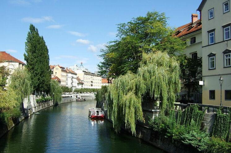 Die idyllische fließende Ljubljanica in Ljublijana