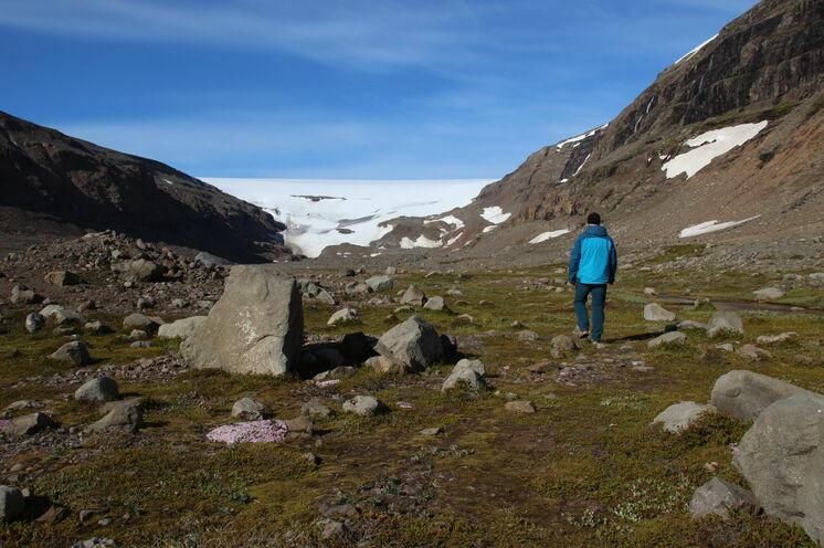 Wanderung nahe des Gletschers Drangajökull