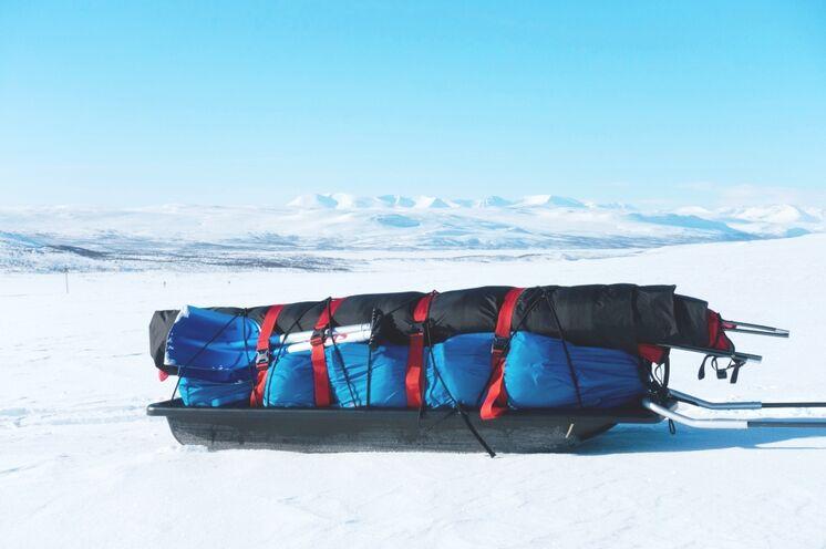 So sieht der Pulka mit Ausrüstung gepackt aus