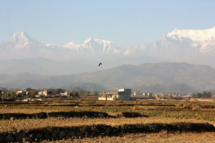 Auf der Fahrt nach Pokhara begleitet Sie bei bei guter Bergsicht des Annapurna-Massivs und der schneebedeckten Gipfels des Machapuchares.