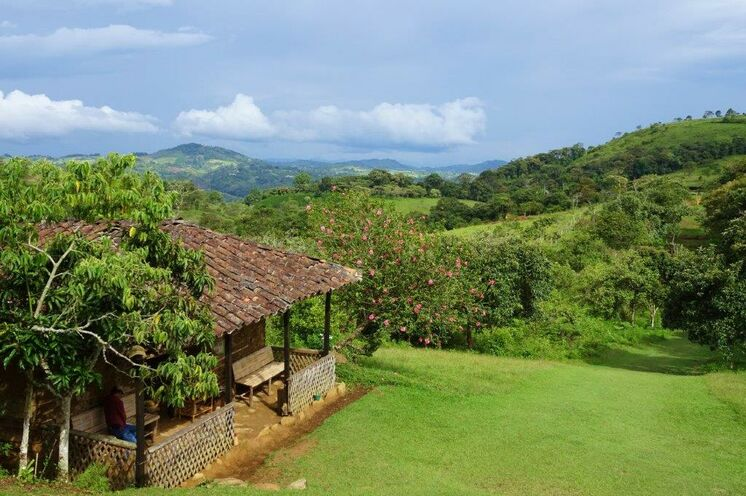Wanderung durch saftig grüne Landschaft zum Dorf Isnos