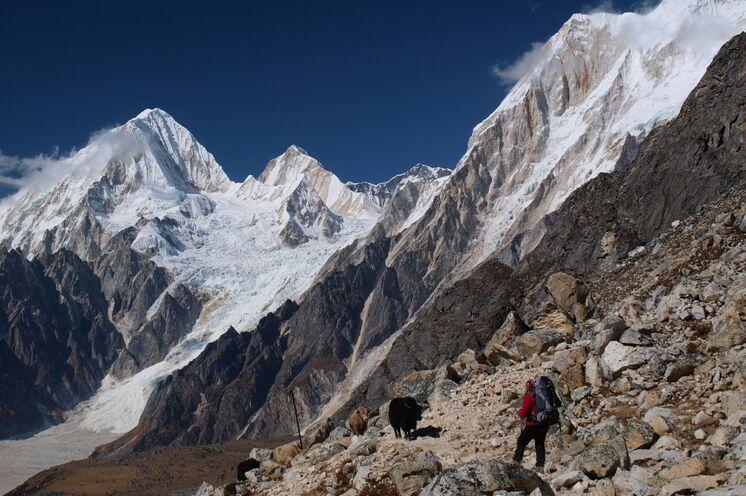 Der Höhepunkt der Tour ist der Aufstieg zum Pass über eine Seitenmoräne des Larkya-Gletschers. (Foto F. Nimsch)