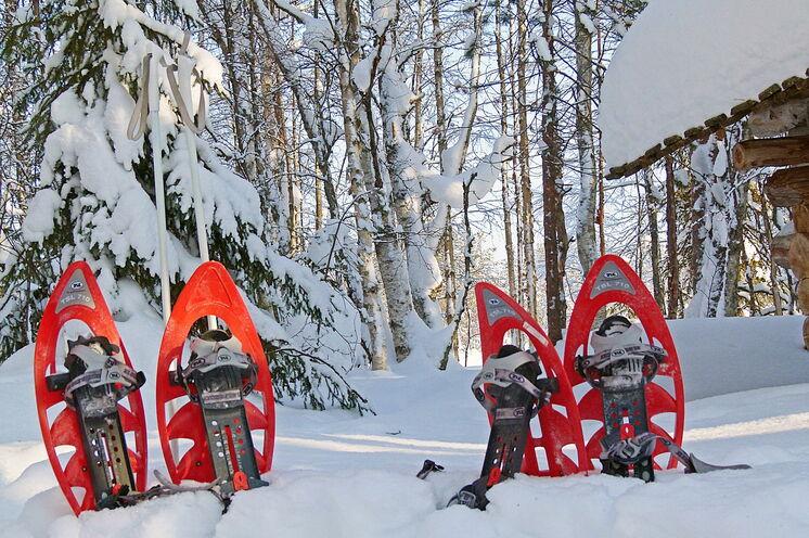 Ein ganz besonderes Vergnügen – mit Schneeschuhen die tief verschneite Winterlandschaft bei gut ausgeschilderten Wanderwege zu erkunden