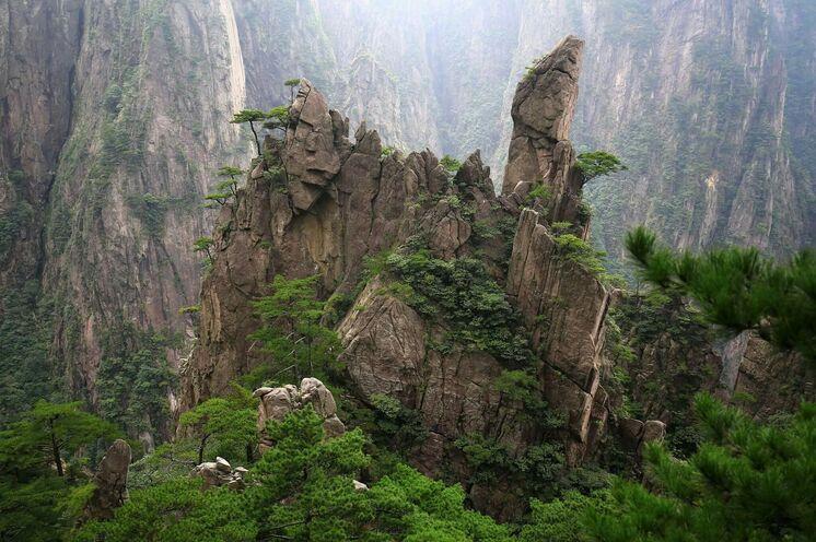 Der Huangshan, eine der schönsten und spektakulärsten Gebirge Chinas