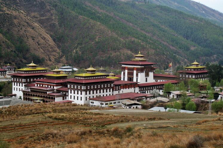 Das religiöses Zentrum des Landes, das Tashisho Dzong Kloster in Thimphu - Bhutan