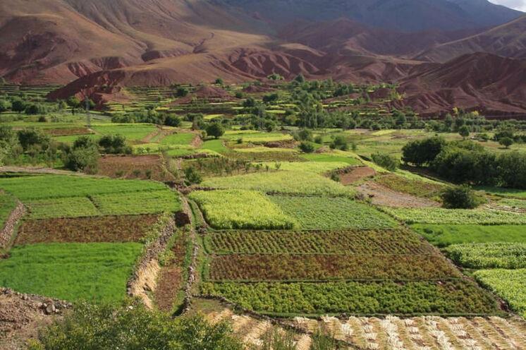 Die Täler sind Dank der Wasserwirtschaft üppig grün, während die umliegenden Berge karg sind.