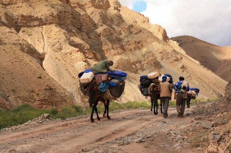 Die Bergmannschaft auf dem Weg zum nächsten Lagerplatz.