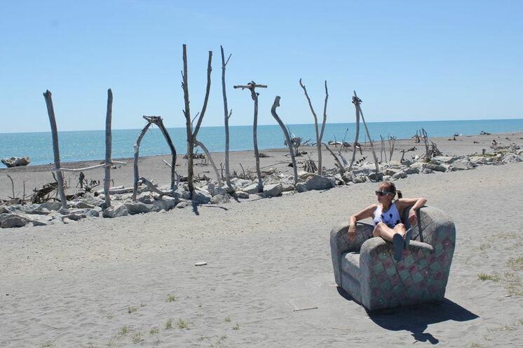 Strandwanderung am Hokitika Beach.